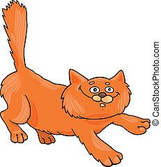 cartoon illustration of running red fluffy cat