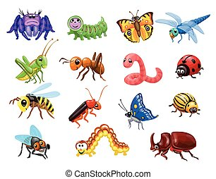 Cartoon insects set. Funny bugs, cute butterfly and beetles. Happy Ant, caterpillar wasp and spider for children vector illustration