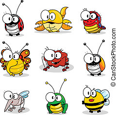 Some cartoon insects (ladybird, scorpion, caterpillar, butterfly, spider, beetle, mosquito, grasshopper, bee).