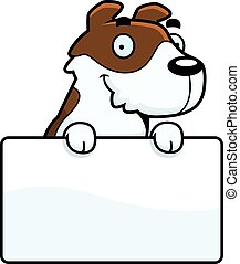 A cartoon illustration of a Jack Russell Terrier with a sign.