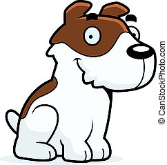 A cartoon illustration of a Jack Russell Terrier sitting.