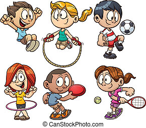 Cute cartoon kids playing. Vector clip art illustration with simple gradients. Each on a separate layer.