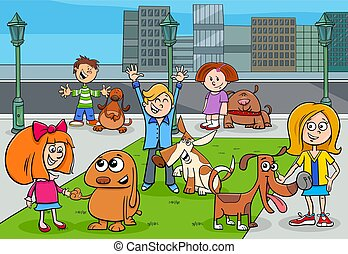 cartoon kids with dogs in the city park