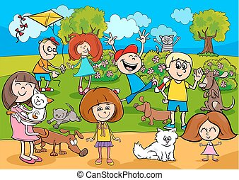 cartoon kids with pets in the park