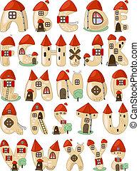 cartoon latin alphabet consists of houses