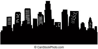 Cartoon skyline silhouette of Los Angeles, California, USA.