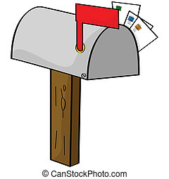 Cartoon illustration of an old-style mailbox