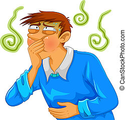 cartoon man feeling nauseous