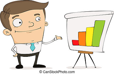 Funny cartoon manager pointing to a chart showing positive growth