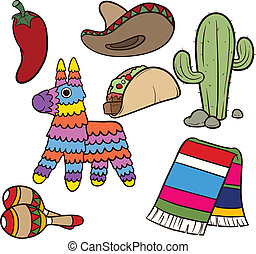 Cartoon Mexican items. Vector clip art illustration. Each element on a separate layer.