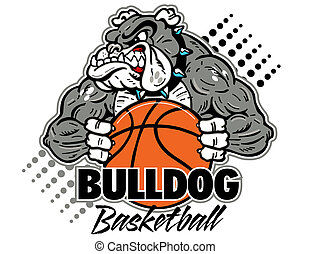 cartoon, muscular bulldog with basketball