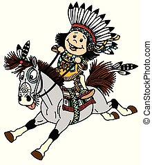 cartoon native indian boy