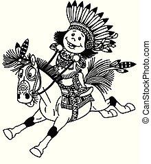 cartoon native indian boy riding pony