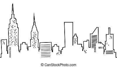 Cartoon silhouette of the New York city skyline