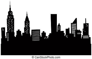 Cartoon silhouette of the New York city skyline.