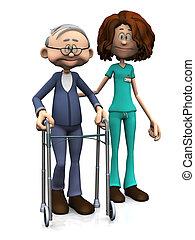 A cartoon nurse helping an elderly man with walker. White background.
