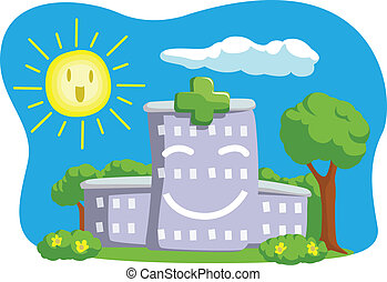A vector image of smiling hospital building. Drawn in cartoon style, this vector is very good for design that need hospital element in cute, funny, colorful and cheerful style. Available as a Vector in EPS8 format that can be scaled to any size without loss of quality. Elements could be separated ...