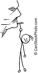 Cartoon of Man Hanging on the Rock