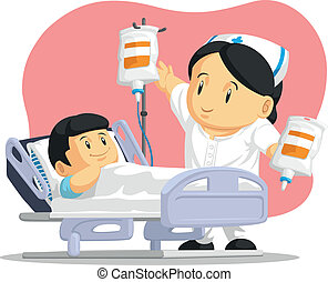 A vector image of a female nurse helping a boy patient with his IV drip. Drawn in cartoon style, this vector is very good for design that need health illustration in cute, funny, colorful and cheerful style.