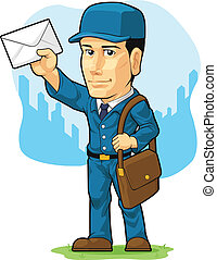 A vector image of a postman/mailman standing confidently in blue uniform while holding a letter. Drawn in cartoon style, this vector is very good for design that need health care element or mascot in cute, funny, colorful and cheerful style. Available as a Vector in EPS8 format that can be scaled to...