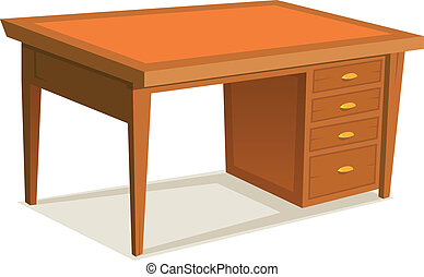 Illustration of a cartoon wooden office desk furniture with drawer, isolated on white background