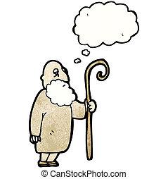 cartoon old shepherd man