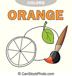 Cartoon orange coloring book. Vector illustration for children