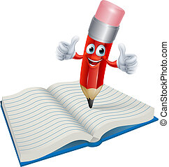 An illustration of a cartoon pencil man character writing in a book