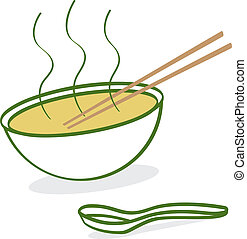 A cartoon depiction of hot Vietnamese Pho soup.