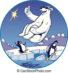 Vector cartoon clip art illustration of a cute funny polar bear mascot giving a thumbs up while doing a cannonball plunge. Penguins watch from a cold Arctic background. One penguin dips his toe in the water and shivers. Each character has sunglasses.