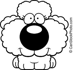 A cartoon illustration of a poodle puppy happy and smiling.