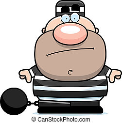 A cartoon prisoner in a prison uniform and ball and chain.