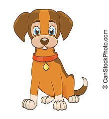 cartoon puppy dog with collar on white. vector illustration