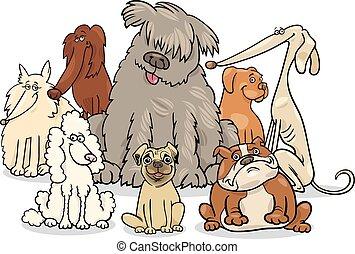cartoon purebred dogs group