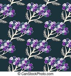 Cartoon purple yarrow seamless pattern in hand drawn style on dark navy blue background.