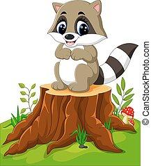 Cartoon racoon posing