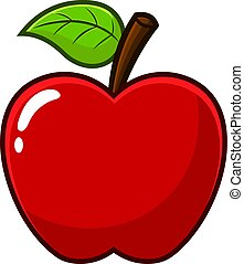 Cartoon Red Apple Fruit With A Leaf