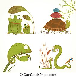 Brightly colored childish frogs turtles snakes lizards. Vector illustration.