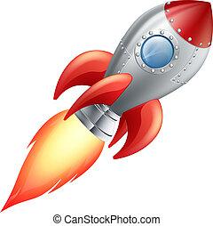 Illustration of a cute cartoon rocket space ship