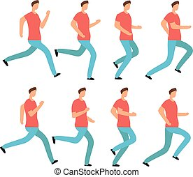 Cartoon running man in casual clothes. Young male jogging. Animation frames sequence isolated vector set