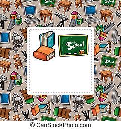cartoon school icons card