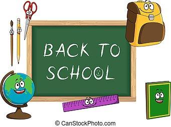 Cartoon school supplies with blackboard