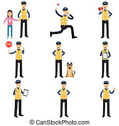 Cartoon set of road policeman in different situations standing with service dog, running, showing stop sign
