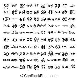 cartoon set of the drawn eyes