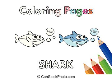 Cartoon Shark Coloring Book