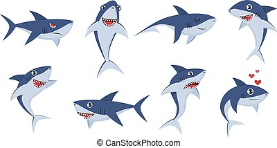 Cartoon sharks. Comic shark animals, cute character emotions, scary jaws and underwater ocean fish cheerful mascot for kids vector set