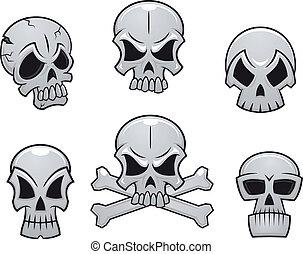 Cartoon skulls set