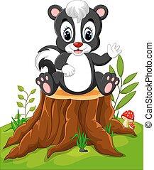 Cartoon skunk posing