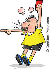 cartoon soccer referee pointing and holding a red card