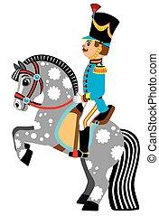 cartoon soldier on a grey horse
